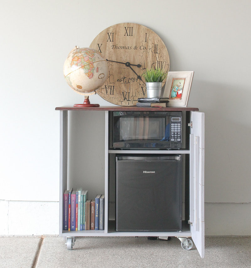 MINI REFRIGERATOR AND MICROWAVE STORAGE CABINET I NEED THIS FOR MY GUEST  ROOM Diy Mini Fridge Cabinet Sawdust Sisters37