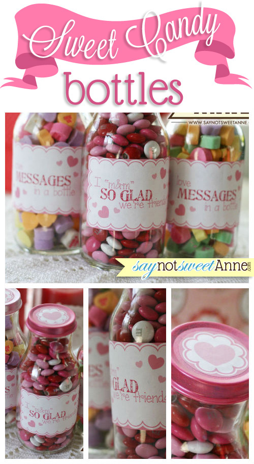 Sweet Candy Bottles - free printable labels for mason jars or re-used coffee bottles! | saynotsweetanne.com | #valentine #gifts #cute #candy #love