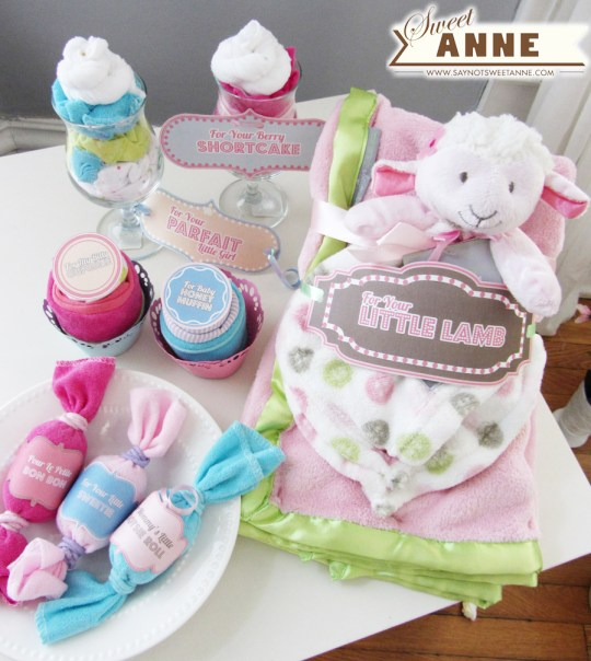 Baby gifts from Onsies and Washcloths Parfaits- Cupcakes-Candies