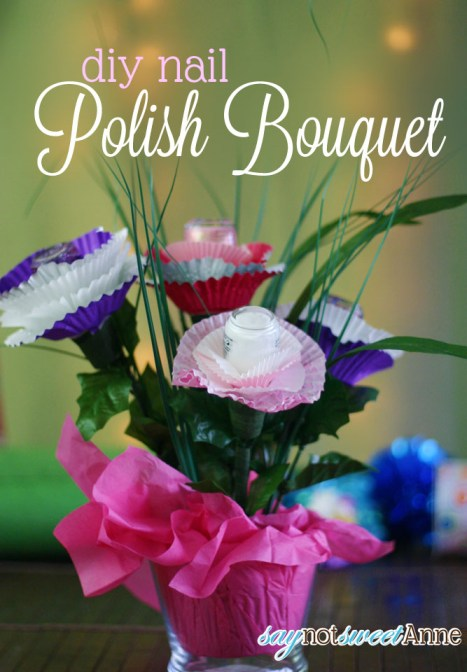 Nail Polish Bouquet - Super cute gift idea for bridal showers, birthdays or just because! | saynotsweetanne.com | #polish #gift #diy