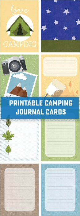 Free Printable Camp Themed Journal Cards! Great for outdoor adventures, summer camps and road trips! | saynotsweetanne.com