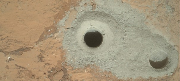 Holes in the rock made by Curiosity Rover (Credit: NASA/JPL-Caltech/MSSS)