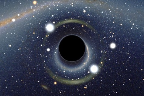 Simulated view of a black hole in front of the Large Magellanic Cloud (Credit: Alain R. | Wikimedia Commons)