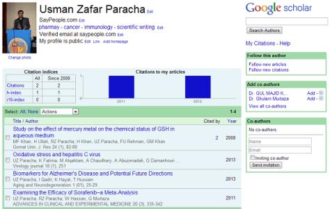 Usman Zafar Paracha - Scholar profile