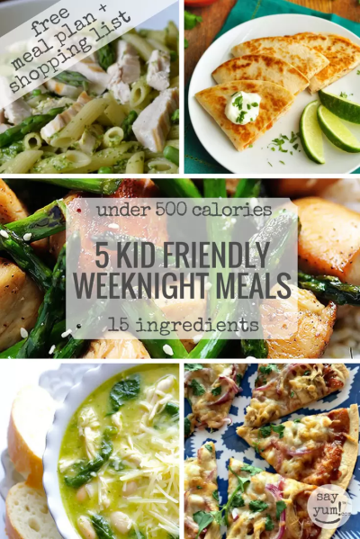 5 kid-friendly, easy, spring weeknight dinners under 500 calories | free meal plan, shopping ...