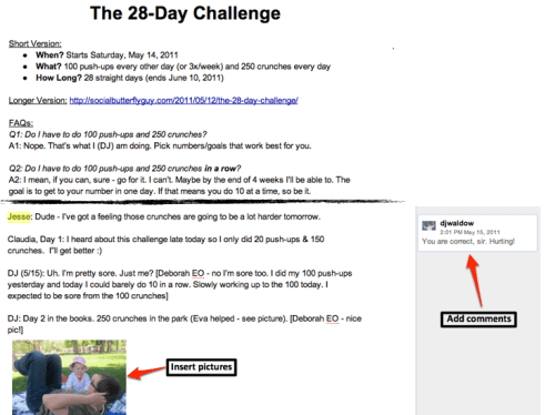The 28-Day Challenge Google Doc