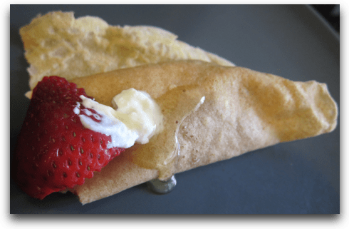 Whole Wheat Flour Crepe with Fresh Strawberry Filling, Honey, & Fage Yogurt