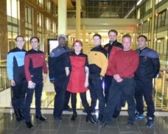 """The crews of USS Loma Prieta and USS Golden Gate at """"The Best of Both Worlds"""" screening."""