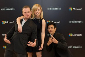 Three of the actors from Star Trek: Into Darkness (from left: Simon Pegg, Alive Eve, John Cho).