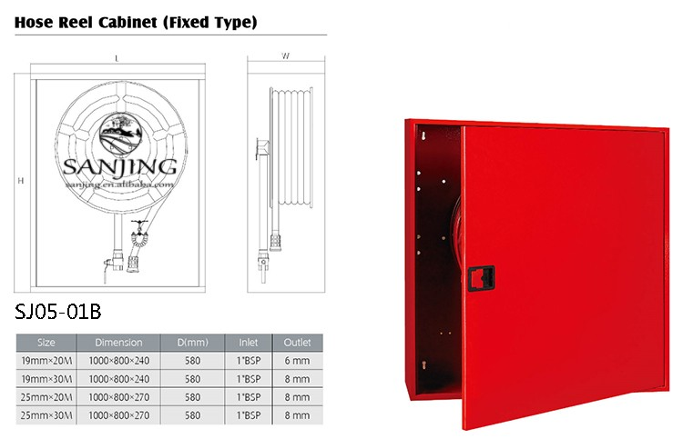 Supplying Various Types Fire Hose Reel Cabinet Custom Sizes For Water Fighting System