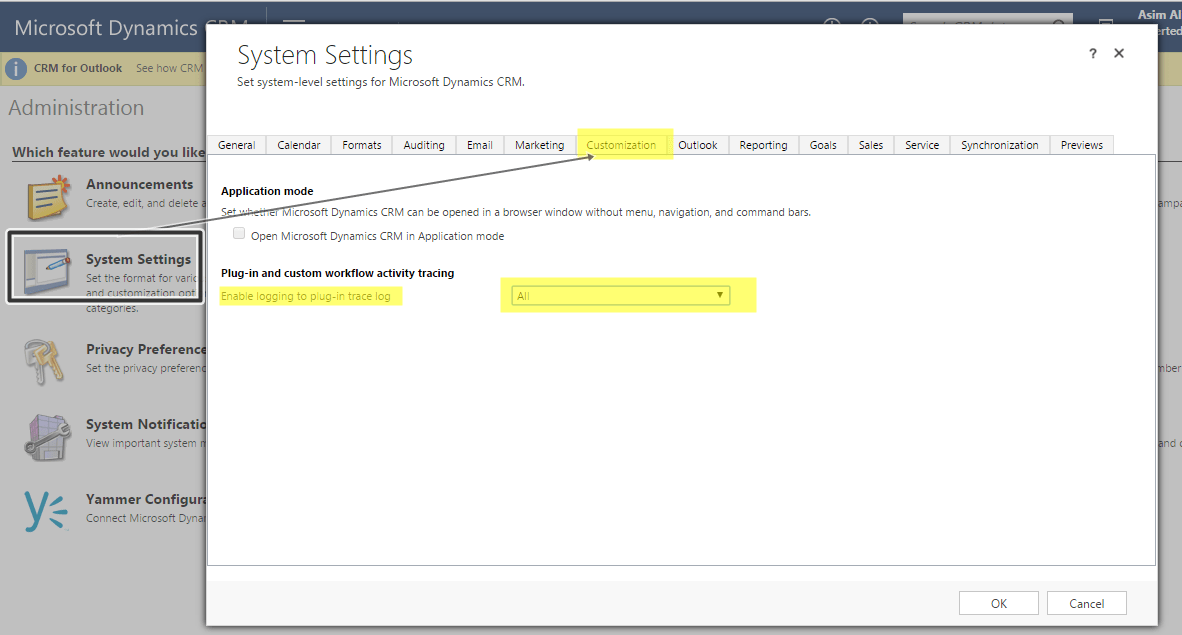Enable Dynamics CRM Plugin tracing