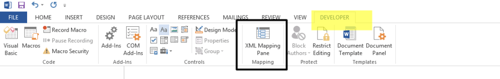 Xml Pane Developer Tab in MS Word
