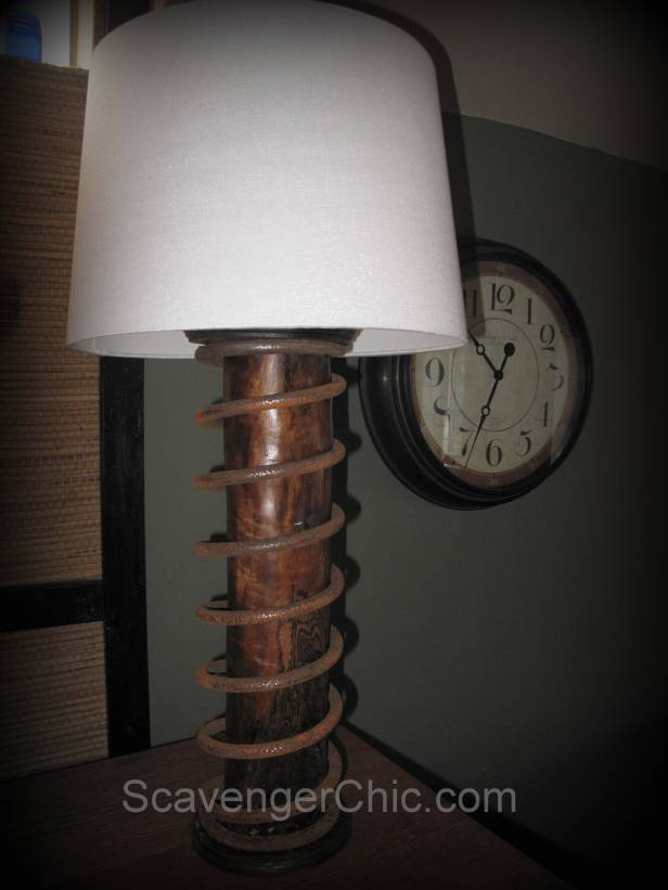 Upcycled  rusty giant spring lamp diy , lighting, repurpose, reuse, recylce car parts