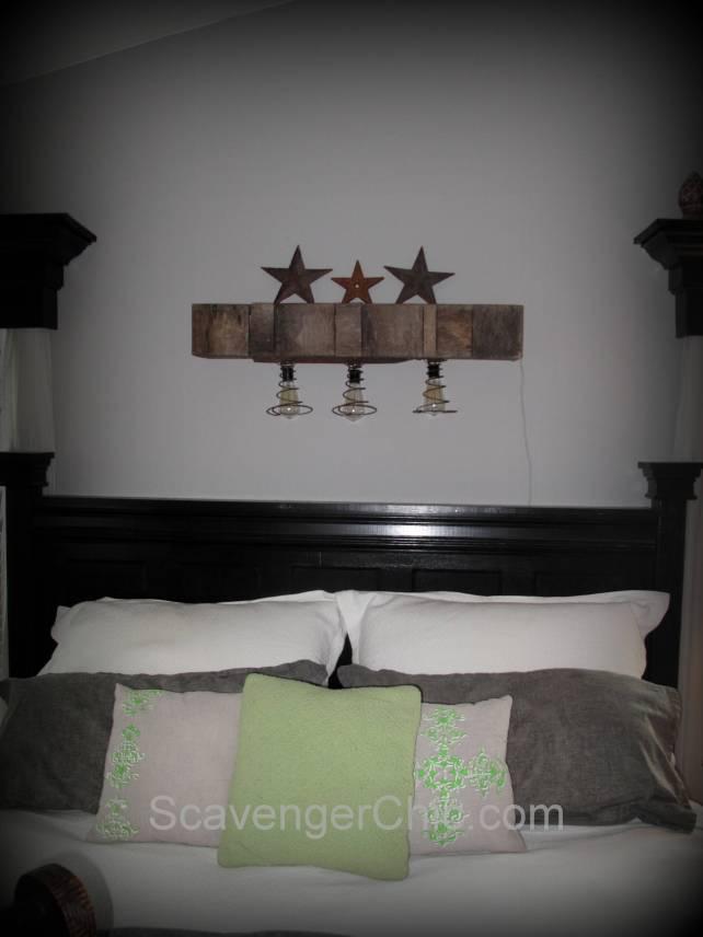 Pallet Wood and Bedsprings Light DIY, Upcycled, Repurposed, Rustic, Lighting, Lamps