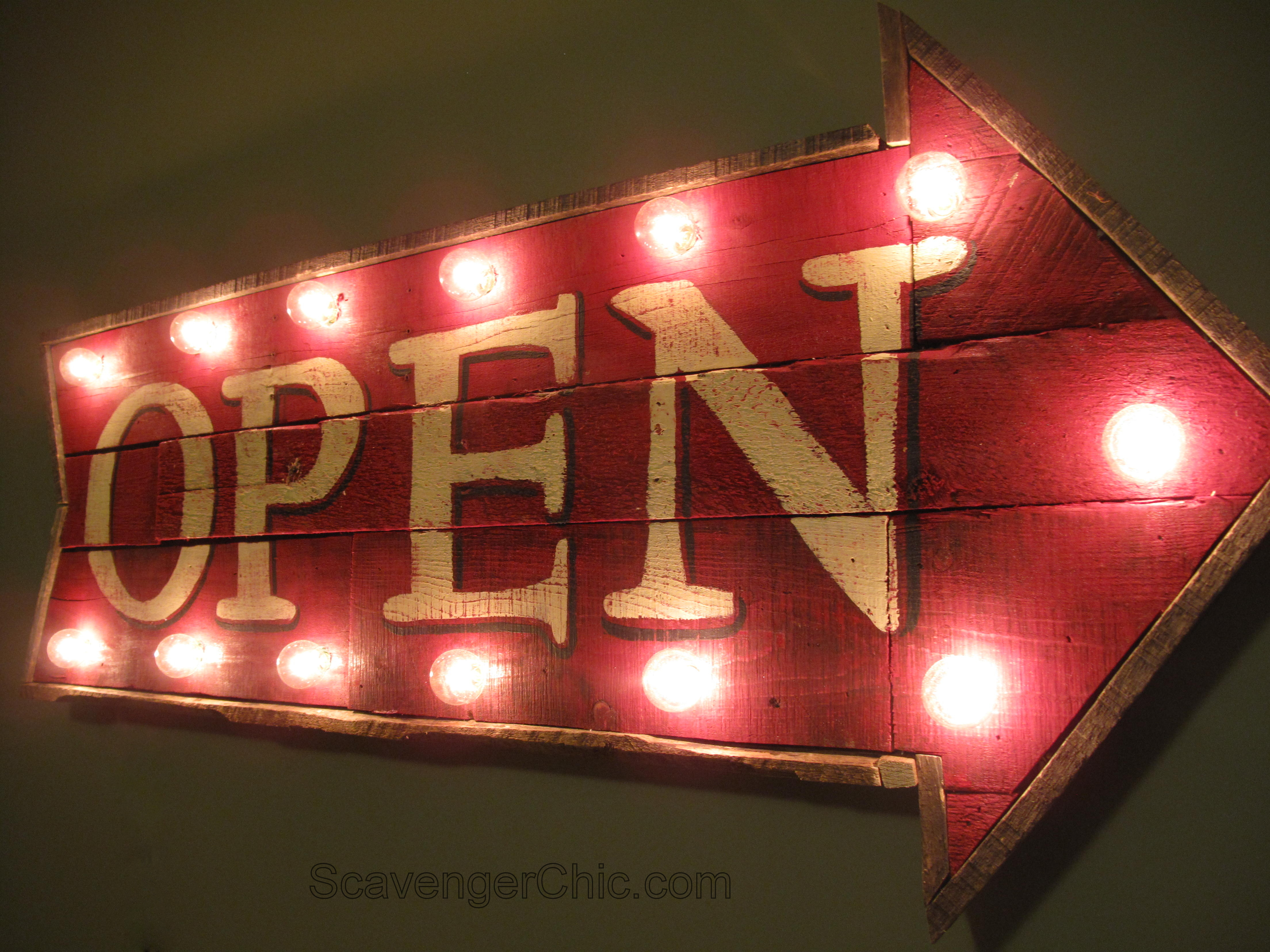 Pallet wood open sign with lights diy scavenger chic pallet wood open lighted sign diy marquee open sign open sign with lights solutioingenieria Choice Image