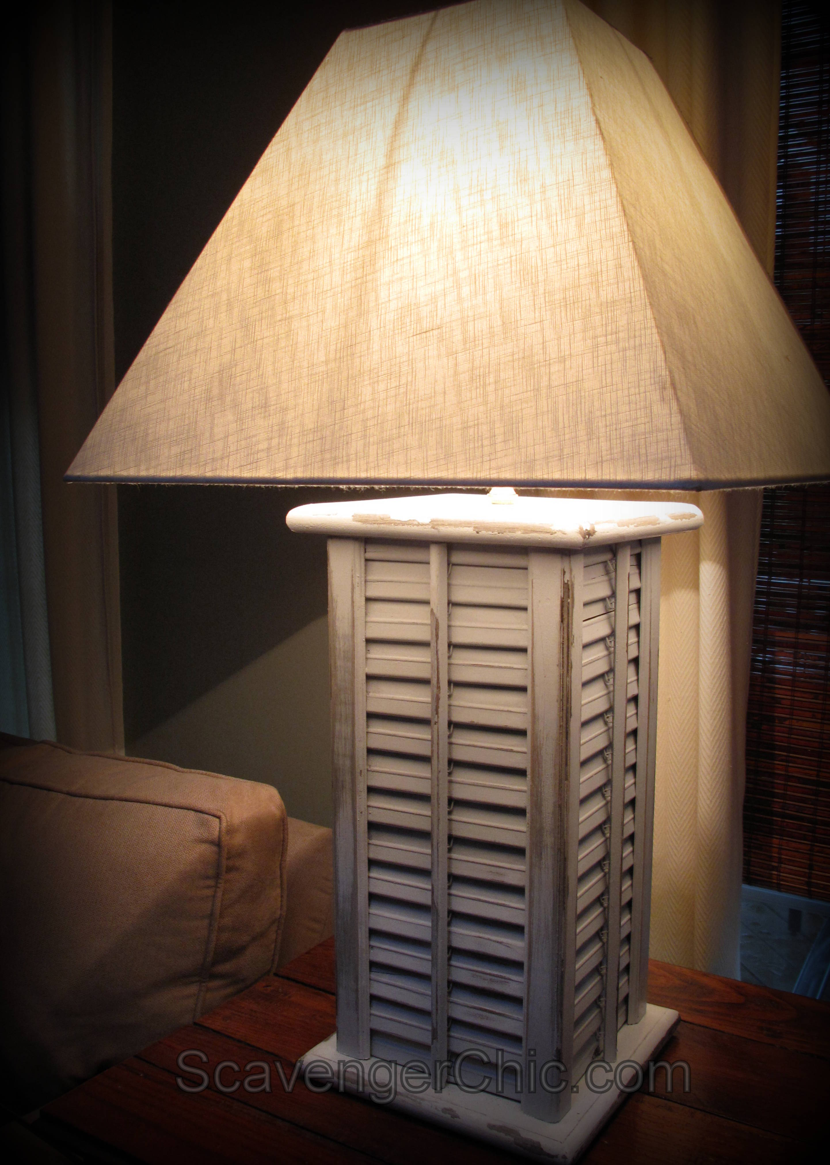 Upcycled shutters lamp diy scavenger chic from shutters to a lamp geotapseo Gallery