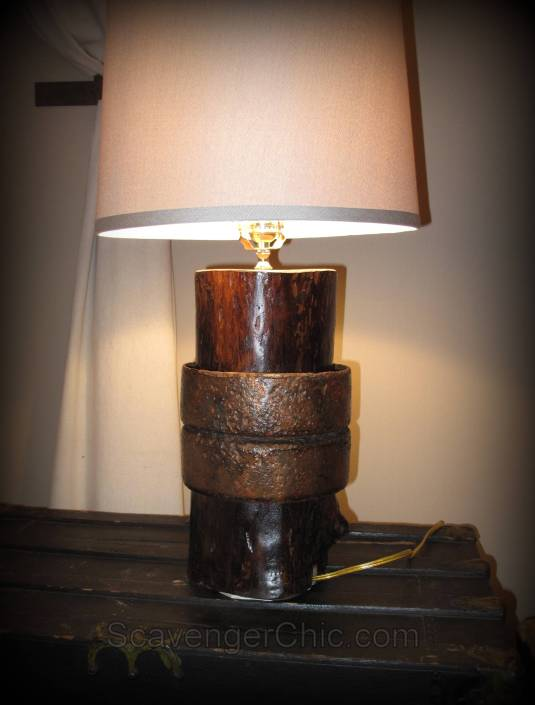 Upcycled lamp, unique lighting, recycled lamp, handmade lamp, diy lamp, rust and wood lamp