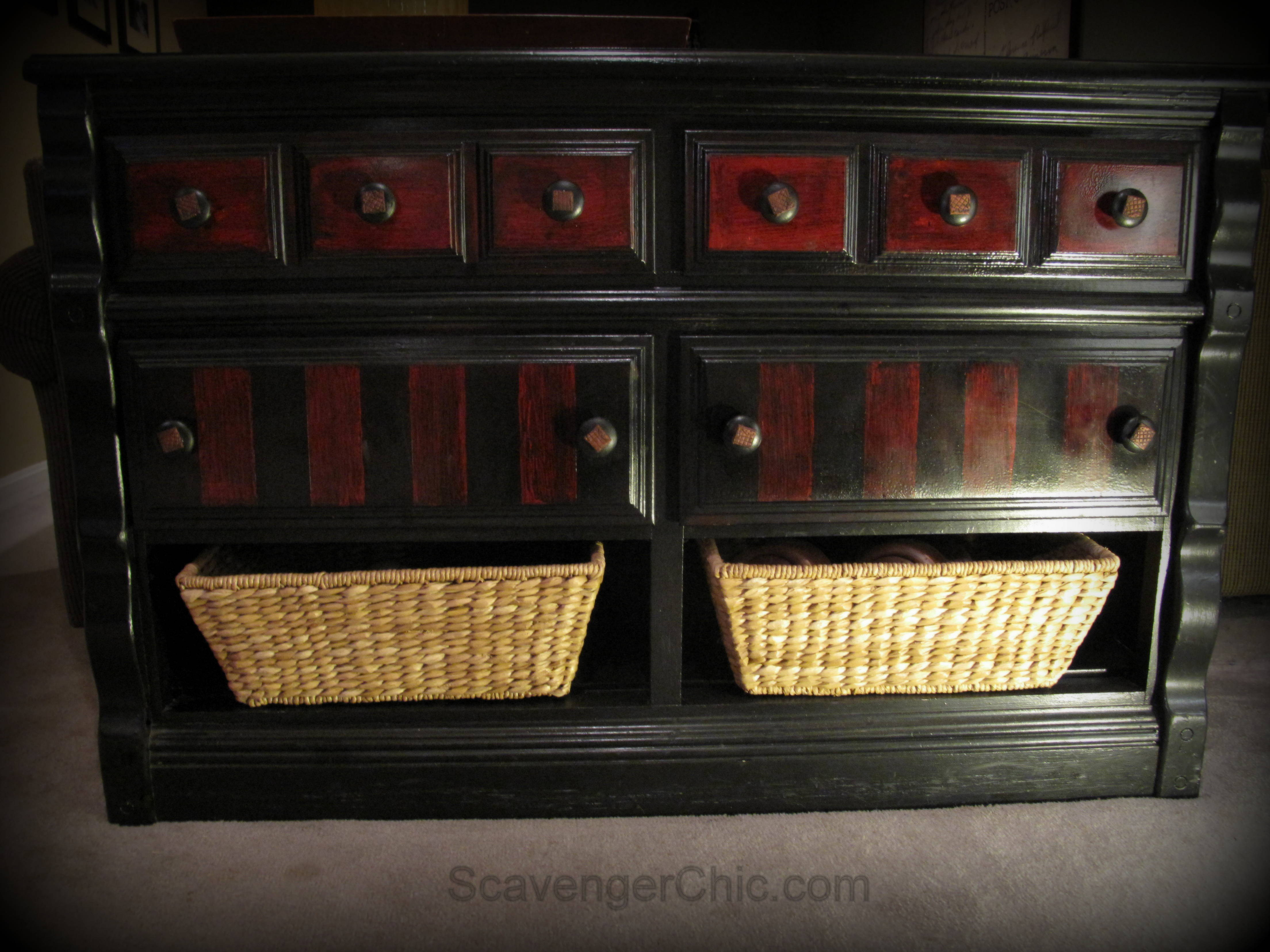 Black And Red Painted Dresser Makeover Scavenger Chic