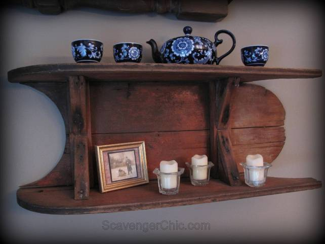 Old Wooden sled, sled shelf, wooden sleigh,  diy shelves