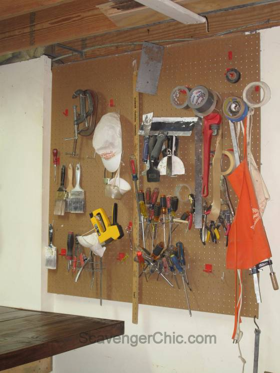 peg board workshop storage