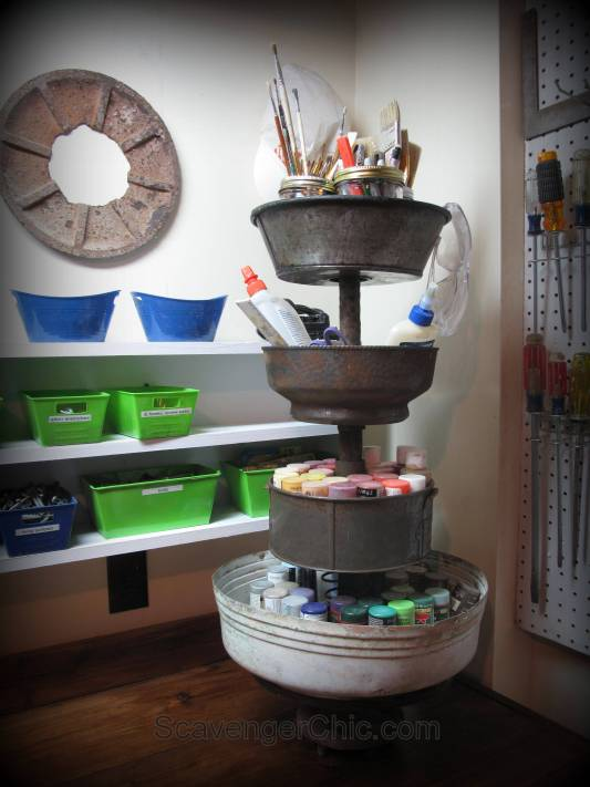 recycled tiered server now a paint caddy, workshop storage