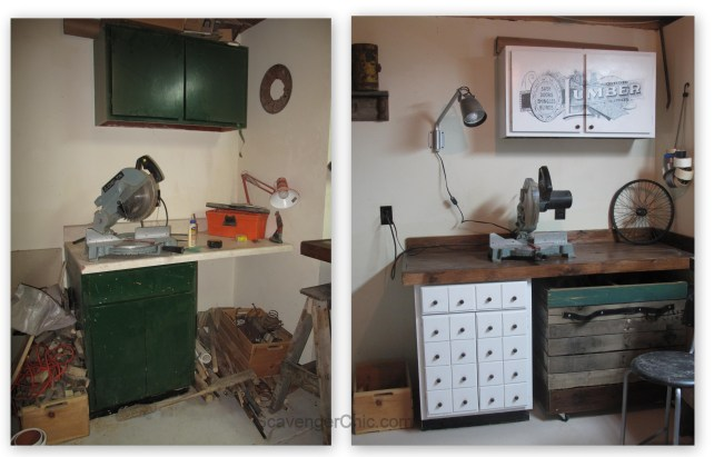 before and after workshop makeover, diy apothercary cabinet, rolling pallet storage,  kitchen cabinet makeover, resurface old kitchen counter