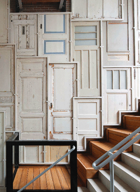 20+ Amazing Recycled Wall Ideas-Recycled Window and door Wall