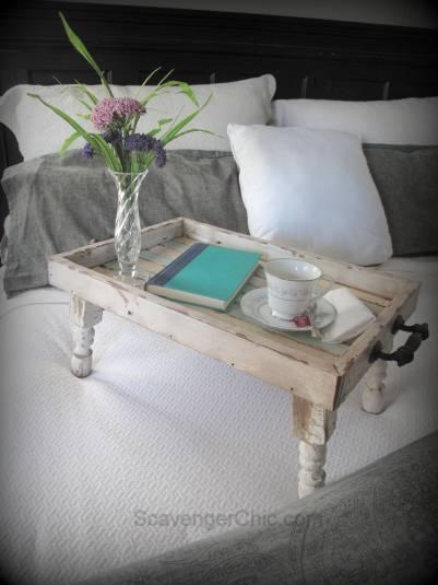 Bed tray diy, Reclaimed Wood tray, Beach decor, Serving tray diy