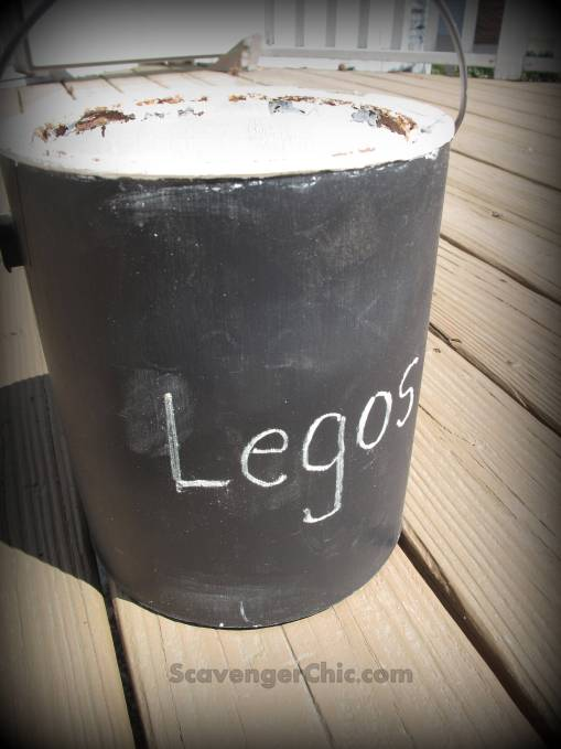 Recycling Paint Cans into Toy Storage, Write on a Paint Can with chalk!