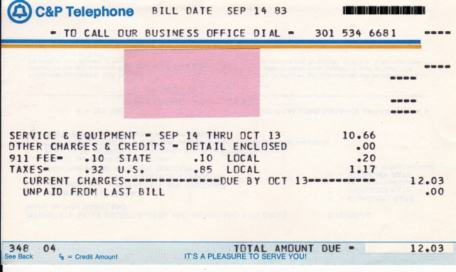 1983 Telephone Bill