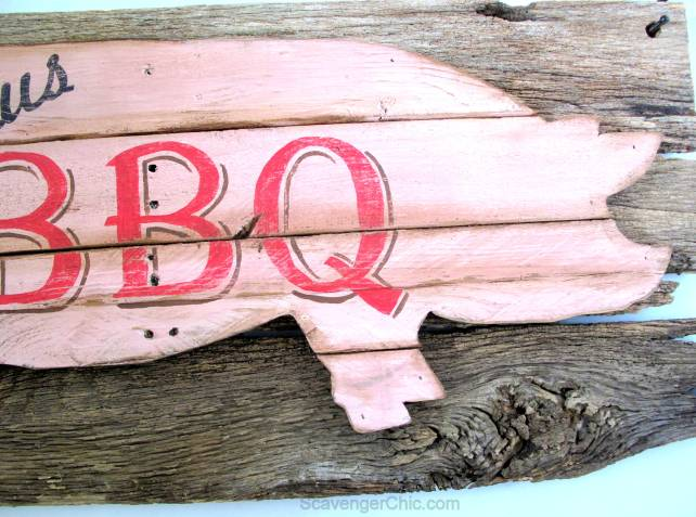 Make your own vintage pork bbq sign with upcycled yoke