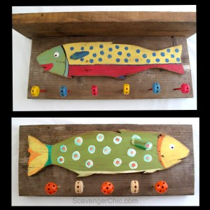 Fish and Tinker Toys wall hooks