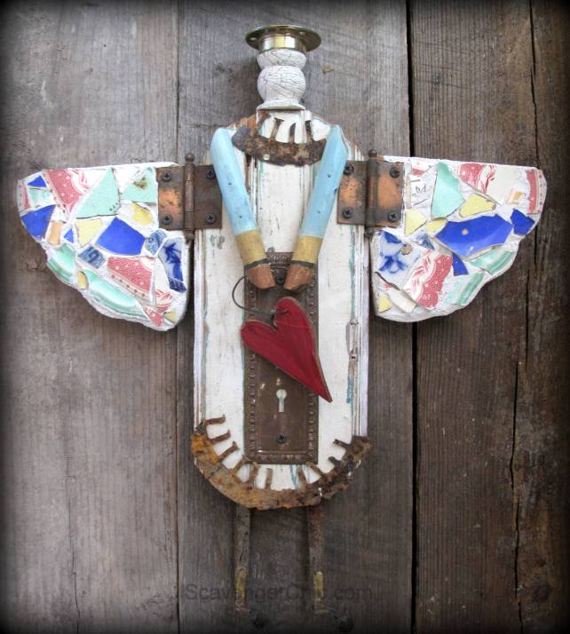 Junk Angel made from reclaimed wood, broken tile, doorknob plate 002