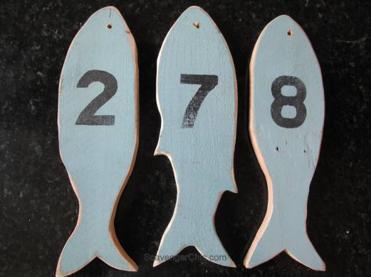 Pallet Wood fish house numbers