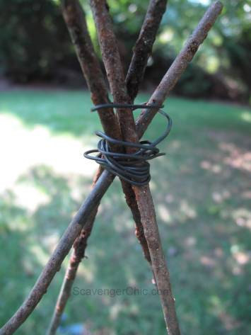 Recycled Tomato Cage and Honeysuckle vine Tree