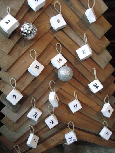 Advent Calendar Christmas tree, cedar shingles, wood christmas tree-
