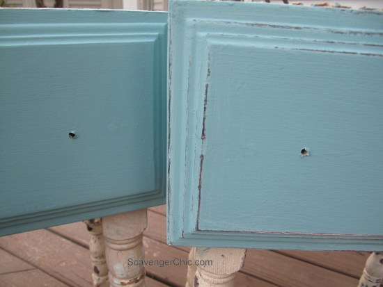 Repurposed Drawer side Table- distressed chalk paint
