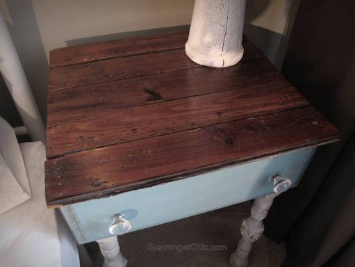 Repurposed Drawer side Table hardwood flooring top