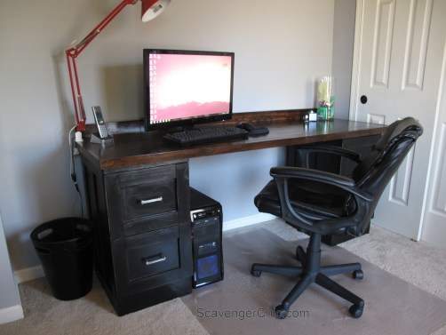 Creating a desk from Metal File Cabinets