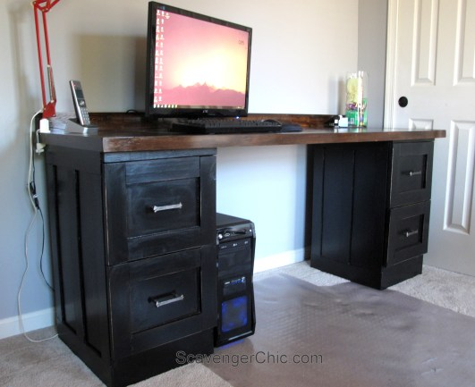 Creating a desk from Metal File Cabinets-007
