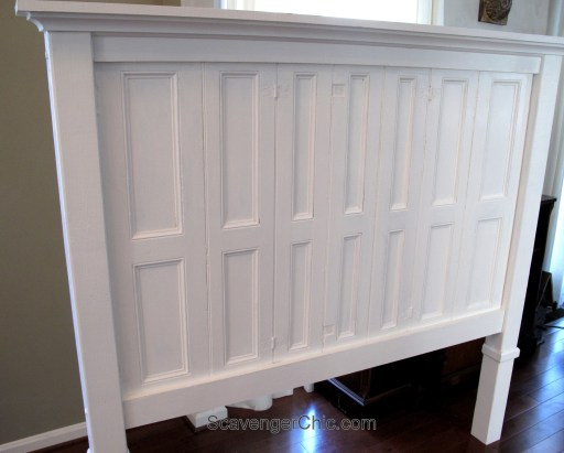 Headboard made from recycled, repurposed shutters diy, headboard tutorial