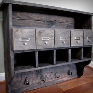 Pallet Wood Organizing Shelves