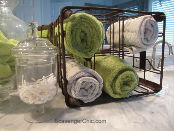 recycled metal milk crate, towel holder