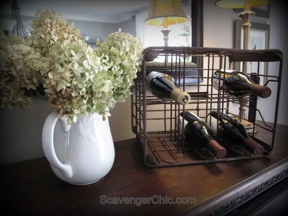 recycled metal milk crate, wine rack