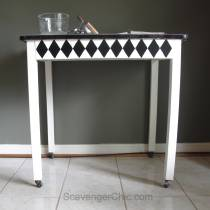 Vintage Black and White Enamel Table