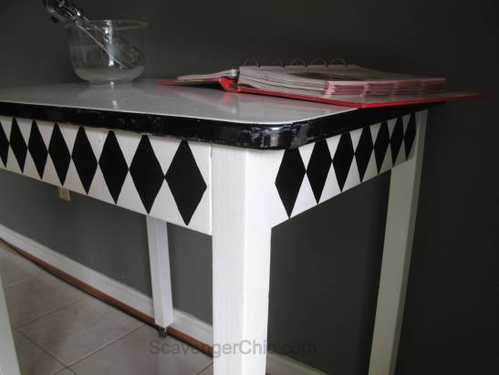 Vintage Black and White Enamel Table Makeover-012