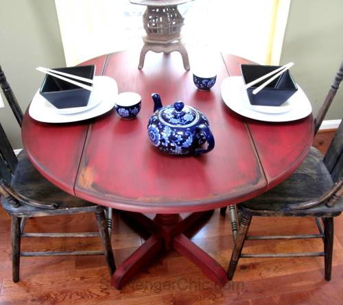 Little Red Drop Leaf Table-009