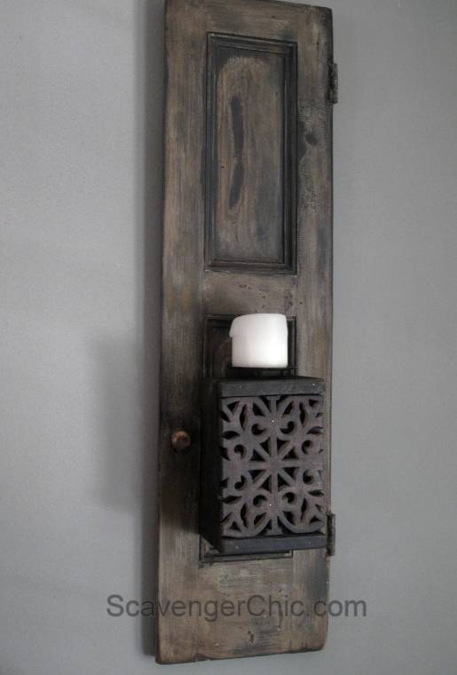 Recycled Shutters and Candles Wall Sconce-016