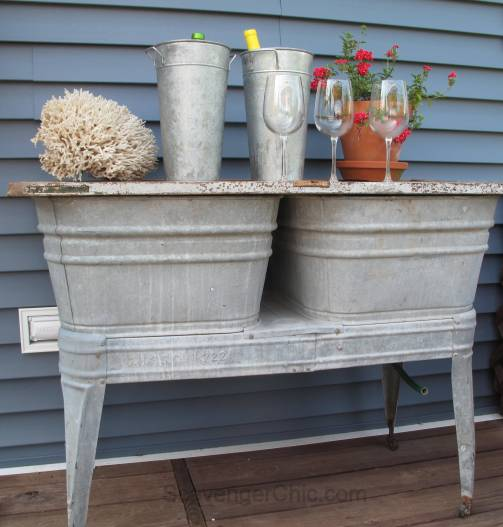 Recycled Wash tubs and Old Door Side Table-002