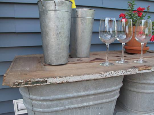 Recycled Wash tubs and Old Door Side Table-006